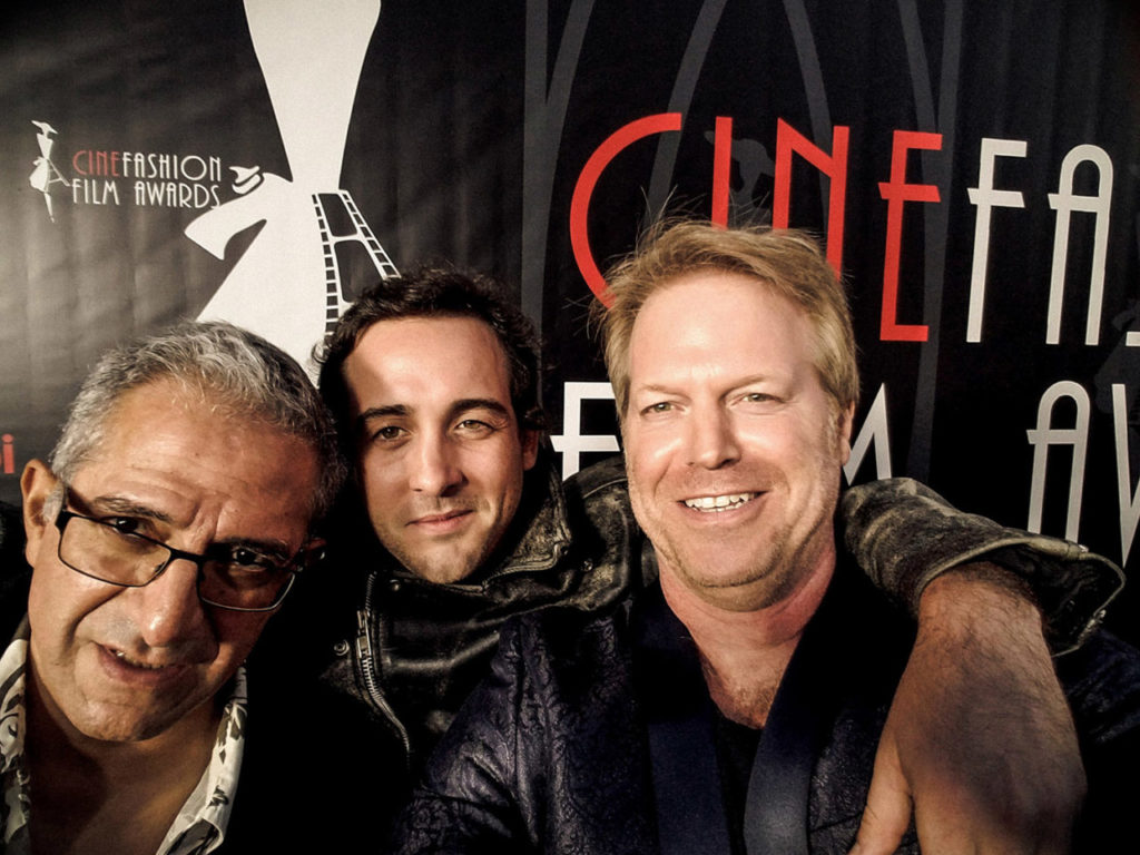Film director Greg McDonald, actor Brandon Bernath and Roberto Correa cinematographer on the red carpet