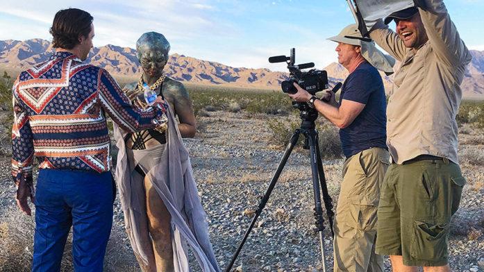 bts of director Greg McDonald filming actors