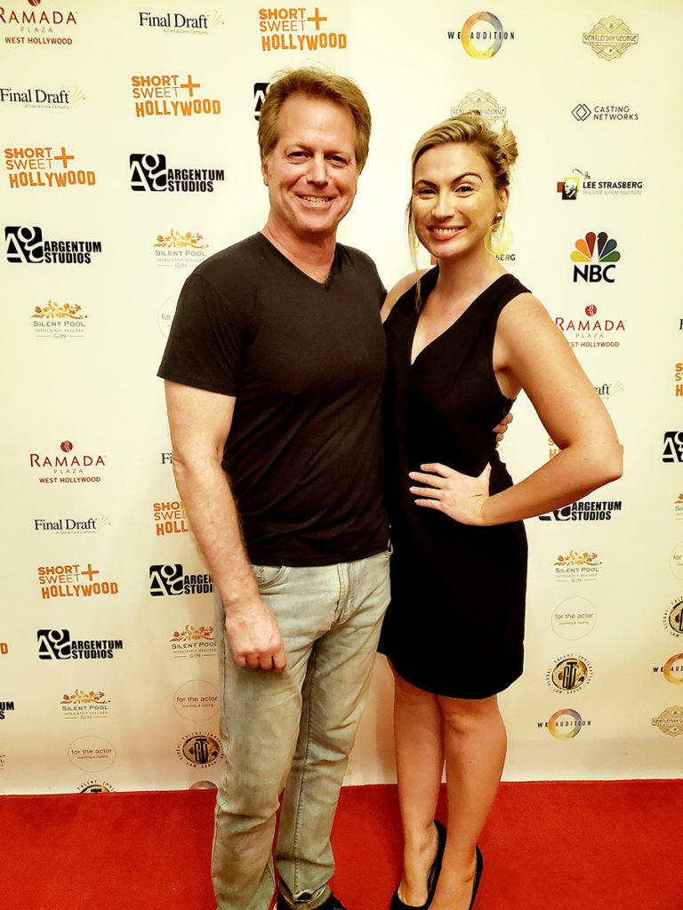 Director Greg McDonald with actress Kaitlyn Clare at the Short+Sweet Hollywood Film Festival
