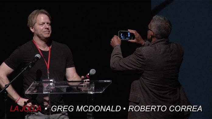 Director Greg McDonald and cinematographer Roberto Correa introduce their comedy fashion film on stage at La Jolla Fashion Film Festival