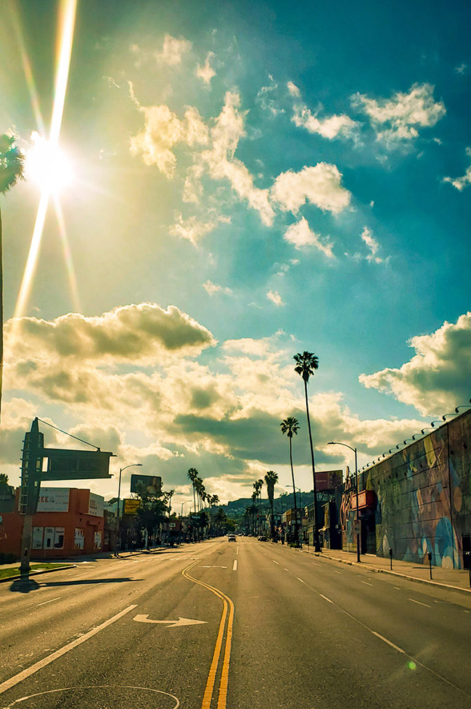 empty Sunset Blvd on sunny day during shut down in Los Angeles