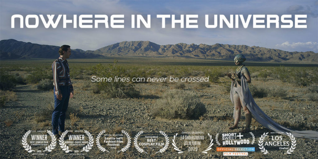 a man and alien meet in the desert in the sci-fi fashion comedy, Nowhere In The Universe