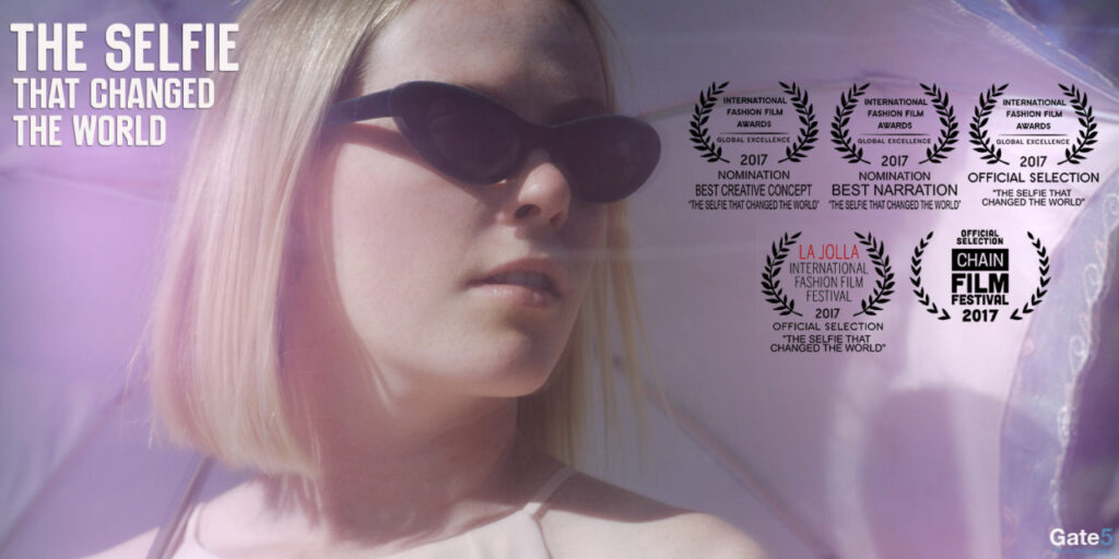 pretty blonde woman in sunglasses in comedic fashion film