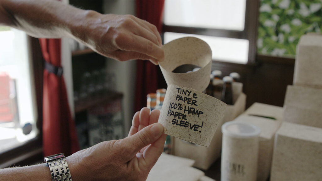 a close up of a coffee cup holder made out of hemp paper in the video series Hemp Already