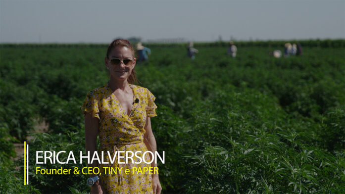hemp paper company owner stands in a hemp field for the video series Hemp Already